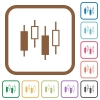 Candlestick chart simple icons - Candlestick chart simple icons in color rounded square frames on white background