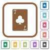 Seven of clubs card simple icons - Seven of clubs card simple icons in color rounded square frames on white background