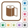 Paper towel simple icons - Paper towel simple icons in color rounded square frames on white background