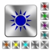 Sun engraved icons on rounded square glossy steel buttons - Sun rounded square steel buttons