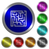 Labyrinth luminous coin-like round color buttons - Labyrinth icons on round luminous coin-like color steel buttons