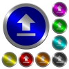 Upload luminous coin-like round color buttons - Upload icons on round luminous coin-like color steel buttons