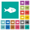 Fish square flat multi colored icons - Fish multi colored flat icons on plain square backgrounds. Included white and darker icon variations for hover or active effects.