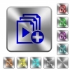 Add new item to playlist rounded square steel buttons - Add new item to playlist engraved icons on rounded square glossy steel buttons