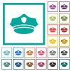 Police hat flat color icons with quadrant frames - Police hat flat color icons with quadrant frames on white background
