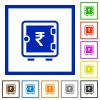 Indian Rupee strong box flat framed icons - Indian Rupee strong box flat color icons in square frames on white background