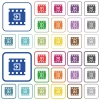 Import movie outlined flat color icons - Import movie color flat icons in rounded square frames. Thin and thick versions included.