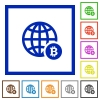 Online Bitcoin payment flat framed icons - Online Bitcoin payment flat color icons in square frames on white background