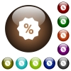 Discount sticker color glass buttons - Discount sticker white icons on round color glass buttons