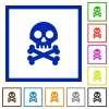 Skull with bones flat framed icons - Skull with bones flat color icons in square frames on white background