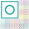 Media record flat color icons with quadrant frames - Media record flat color icons with quadrant frames on white background
