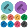 Paint roller color darker flat icons - Paint roller darker flat icons on color round background