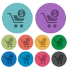 Checkout with Dollar cart color darker flat icons - Checkout with Dollar cart darker flat icons on color round background