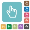 Hand cursor rounded square flat icons - Hand cursor white flat icons on color rounded square backgrounds