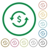 Dollar pay back flat icons with outlines - Dollar pay back flat color icons in round outlines on white background
