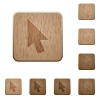 Mouse cursor wooden buttons - Mouse cursor on rounded square carved wooden button styles