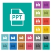 PPT file format square flat multi colored icons - PPT file format multi colored flat icons on plain square backgrounds. Included white and darker icon variations for hover or active effects.