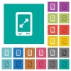 Mobile pinch open gesture square flat multi colored icons - Mobile pinch open gesture multi colored flat icons on plain square backgrounds. Included white and darker icon variations for hover or active effects.