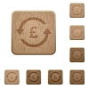 Pound pay back wooden buttons - Pound pay back on rounded square carved wooden button styles