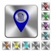 GPS map location details rounded square steel buttons - GPS map location details engraved icons on rounded square glossy steel buttons