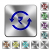 Rupee pay back wooden buttons rounded square steel buttons - Rupee pay back wooden buttons engraved icons on rounded square glossy steel buttons