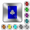 five of clubs card rounded square steel buttons - five of clubs card engraved icons on rounded square glossy steel buttons
