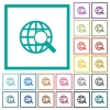 Web search flat color icons with quadrant frames - Web search flat color icons with quadrant frames on white background