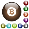 Bitcoin sticker color glass buttons - Bitcoin sticker white icons on round color glass buttons