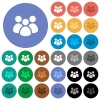 Team round flat multi colored icons - Team multi colored flat icons on round backgrounds. Included white, light and dark icon variations for hover and active status effects, and bonus shades on black backgounds.