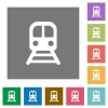 Train square flat icons - Train flat icons on simple color square backgrounds