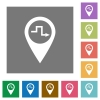 Route planning square flat icons - Route planning flat icons on simple color square backgrounds