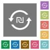 New Shekel pay back square flat icons - New Shekel pay back flat icons on simple color square backgrounds