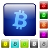 Bitcoin digital cryptocurrency color square buttons - Bitcoin digital cryptocurrency icons in rounded square color glossy button set