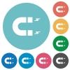 Horseshoe magnet flat round icons - Horseshoe magnet flat white icons on round color backgrounds