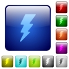 Lightning energy color square buttons - Lightning energy icons in rounded square color glossy button set
