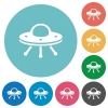 UFO flat round icons - UFO flat white icons on round color backgrounds