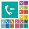 Incoming phone call square flat multi colored icons - Incoming phone call multi colored flat icons on plain square backgrounds. Included white and darker icon variations for hover or active effects.