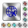 World travel rounded square steel buttons - World travel engraved icons on rounded square glossy steel buttons