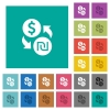 Dollar new Shekel money exchange square flat multi colored icons - Dollar new Shekel money exchange multi colored flat icons on plain square backgrounds. Included white and darker icon variations for hover or active effects.