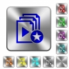 Rank playlist rounded square steel buttons - Rank playlist engraved icons on rounded square glossy steel buttons