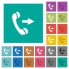 Outgoing phone call square flat multi colored icons - Outgoing phone call multi colored flat icons on plain square backgrounds. Included white and darker icon variations for hover or active effects.