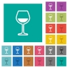 Glass of wine square flat multi colored icons - Glass of wine multi colored flat icons on plain square backgrounds. Included white and darker icon variations for hover or active effects.
