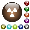 Radiation color glass buttons - Radiation white icons on round color glass buttons