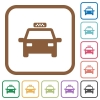 Taxi simple icons - Taxi simple icons in color rounded square frames on white background