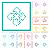 Puzzle pieces flat color icons with quadrant frames - Puzzle pieces flat color icons with quadrant frames on white background