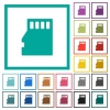 Micro SD memory card flat color icons with quadrant frames - Micro SD memory card flat color icons with quadrant frames on white background