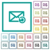 Undelete mail flat color icons with quadrant frames - Undelete mail flat color icons with quadrant frames on white background