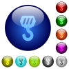 Construction hook color glass buttons - Construction hook icons on round color glass buttons
