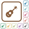Acoustic guitar simple icons - Acoustic guitar simple icons in color rounded square frames on white background