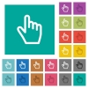 Hand cursor square flat multi colored icons - Hand cursor multi colored flat icons on plain square backgrounds. Included white and darker icon variations for hover or active effects.